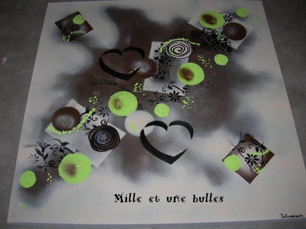 Tableau abstrait vert anis chocolat beige 3d dimensions - Tableau vert anis ...