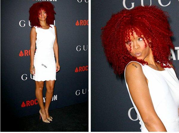 """12/02/11: Rihanna était présente à la fête organisé par """" Gucci """" en l'occasion des Grammy Awards"""