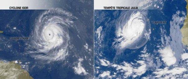 Le cyclone Igor en route vers les Bermudes et Julia cyclone de catégorie 1.