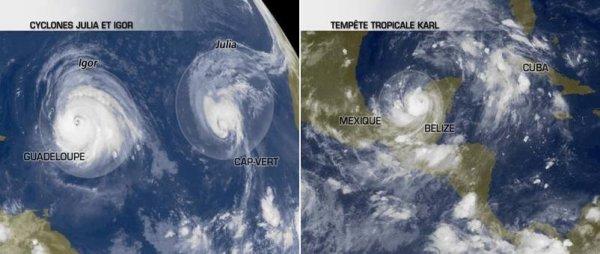 Suivi des cyclones Igor et Julia, La tempête tropicale Karl touche le Mexique.