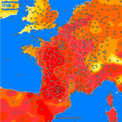 Plus de 30°C dans le Sud-Ouest hier Mercredi 22 septembre !