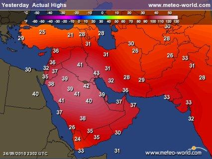 Encore de fortes chaleurs au Moyen Orient.