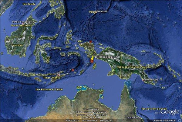 Double séisme de fortes magnitudes dans l'Est de l'Indonésie.