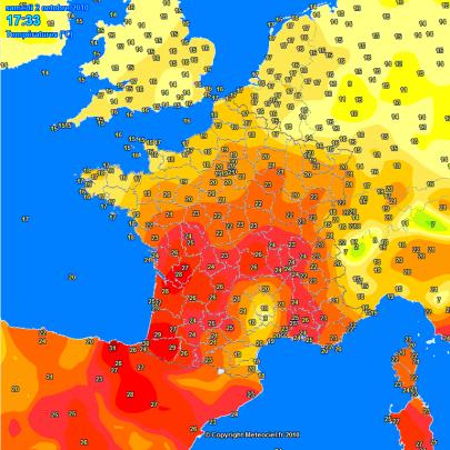 30°C dans le Sud-Ouest hier Samedi 02 octobre après-midi !