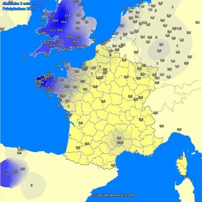Plus de 100 mm de pluie en Bretagne depuis Vendredi 01 octobre !