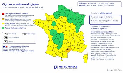 Fortes pluies dans le Sud-Est et coup de vent en Aquitaine pour demain Lundi 04 octobre.