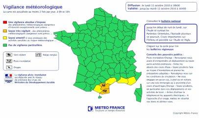 Toujours des fortes pluies et du vent fort dans les Pyrénées-Orientales et l'Aude.