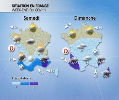 Pour ce week-end, fortes pluies dans le Sud et plus froid au Nord.