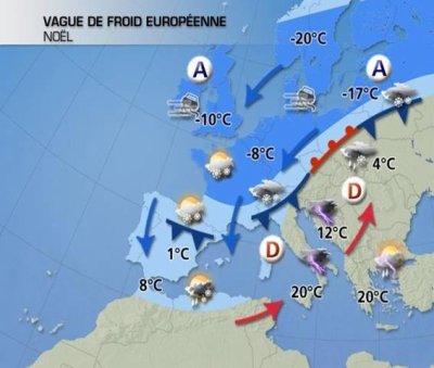pour ce week-end de Noël, temps plus sec mais glacial !