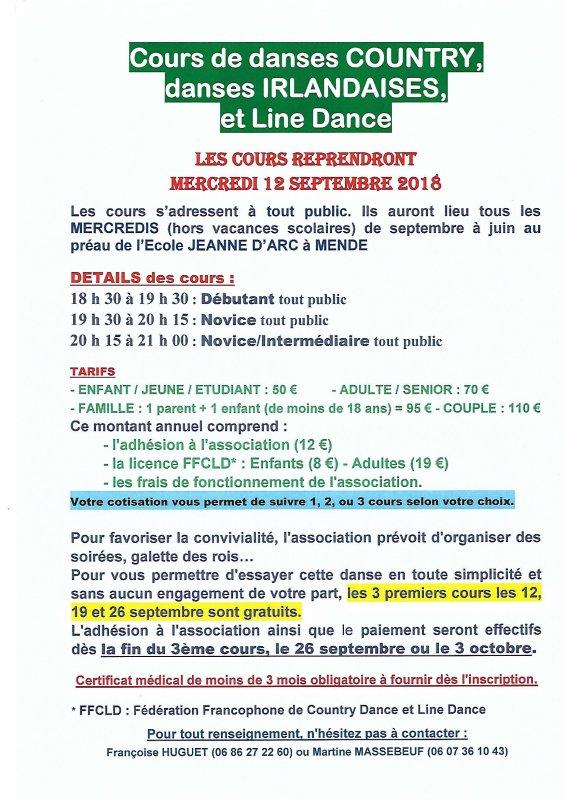 Reprise Cours de Country - Année 2018-2019