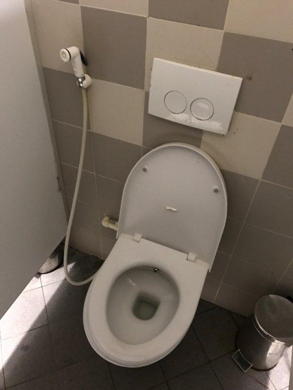 Des toilettes avec un tuyau de douche.