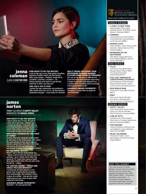 Jenna Coleman dans le magazine Radio Times du 9 au 15 mai 2015