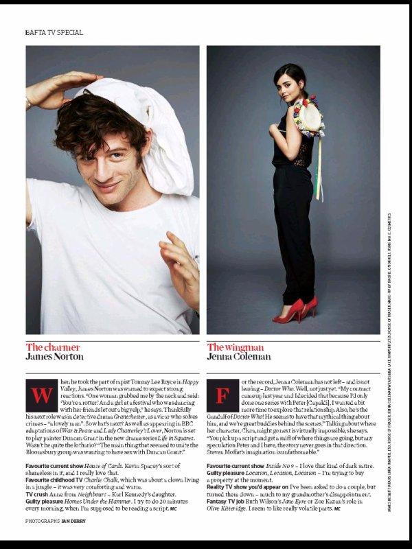 Jenna Coleman dans le magazine The Observer du 3 mai 2015