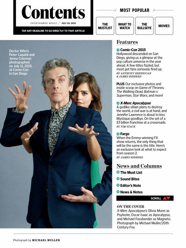 Jenna Coleman dans le magazine Entertainment Weekly du 24 juillet 2015