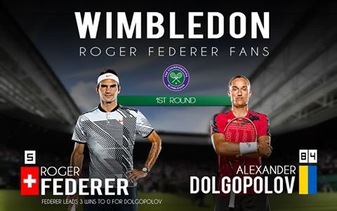 wimbledon 2017 1er tour federer vs dolgopolov