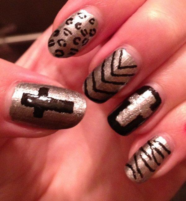 """Nail Art  """"Black & Silver"""""""