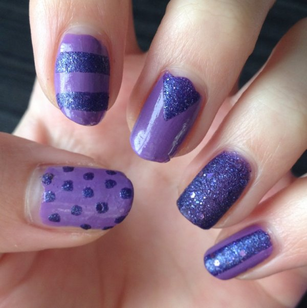"Nail Art  ""Double Purple"""