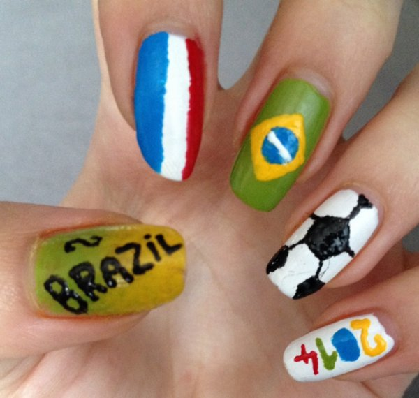 "Nail art  ""Coupe du monde 2014"""