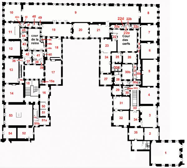 Premier étage - Plan aile centrale