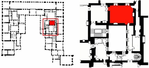 """Premier étage - Aile centrale - Appartement intérieur du roi - 26 Salle à Manger des Cabinets ou  salle à manger dite """"des retours de chasse""""."""