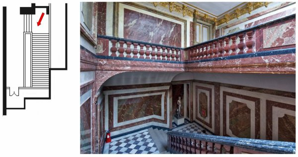 Premier étage - Aile centrale - Escaliers - Escalier attique Chimay