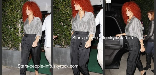 "Départ de Rihanna du restaurant "" Giorgio Baldi "" à Santa Monica le 15 / 03 / 2011"