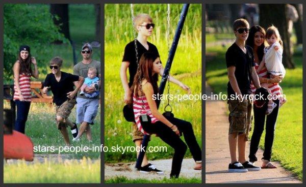 Selena et Justin à un parc de toronto le 1 Juin