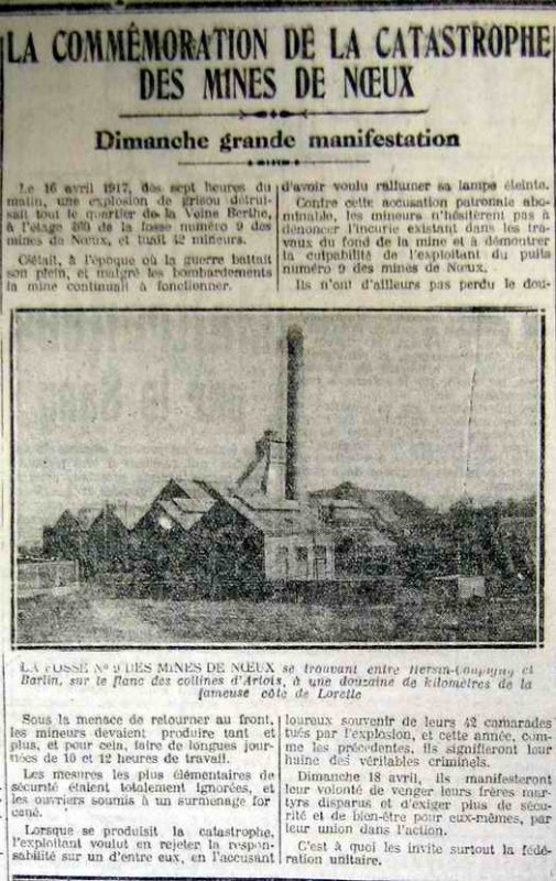 Fosse 9 à Hersin-Coupigny 16 avril 1917 42 morts