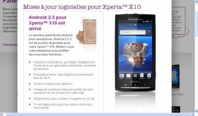 Xperia X10 passe a la verssion 2.3