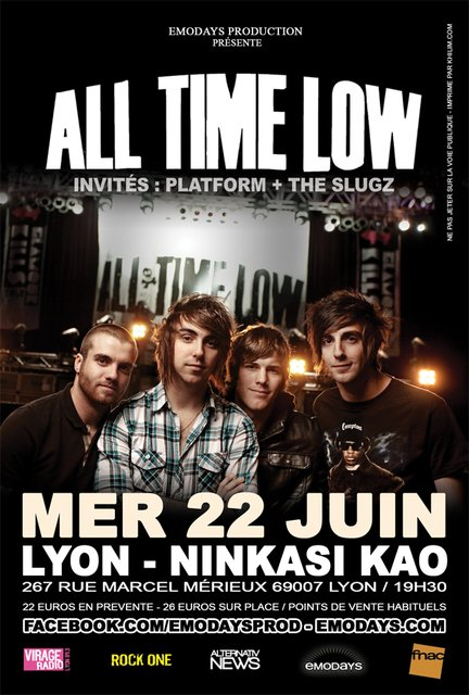THE SLUGZ EN PREMIERE PARTIE D'ALL TIME LOW A LYON LE 22 JUIN