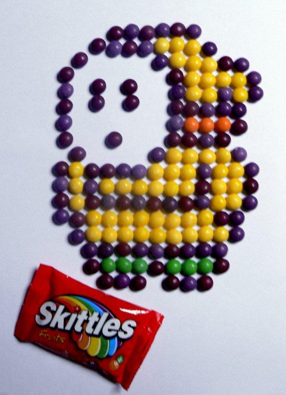 Maskass en Skittles