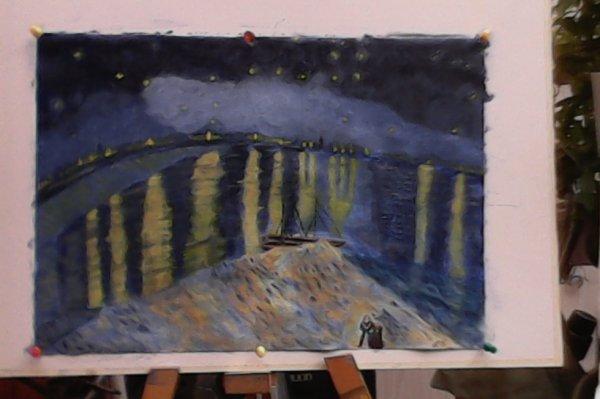 Nuit étoilée sur le Rhône (1888) d'après Vincent VAN GOGH (Acrylique)