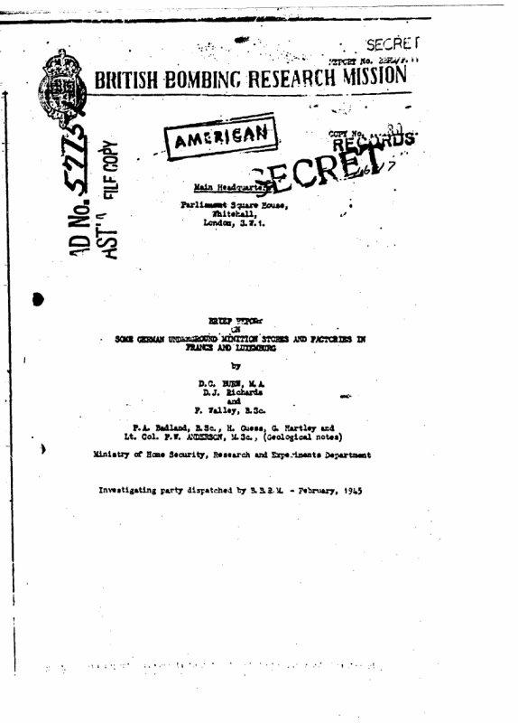 Rapport alliées sur les sites stratégique bombardé en France et au Luxembourg destiné au stockage de munition carburant et fabrique V1