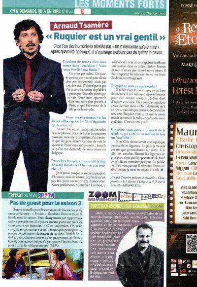 Interview d'Arnaud Tsamere dans le magazine : Ciné Télé Revue