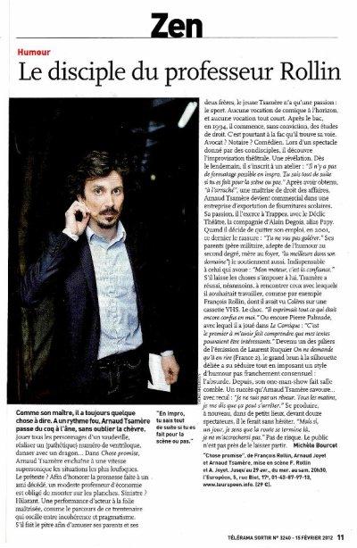 Arnaud Tsamere dans la rubrique Zen du Télérama Sortir