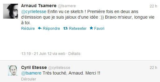 Arnaud Tsamere félicite Cyril Etesse pour son sketch!