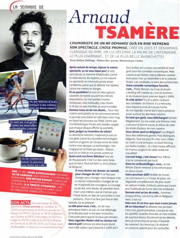 """Interview d'Arnaud Tsamere dans """"Femmes d'Aujourd'hui""""!"""