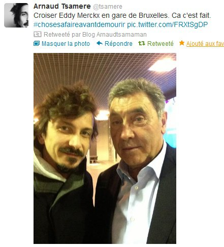 Arnaud Tsamere a croisé Eddy Merckx à la gare de Bruxelles!