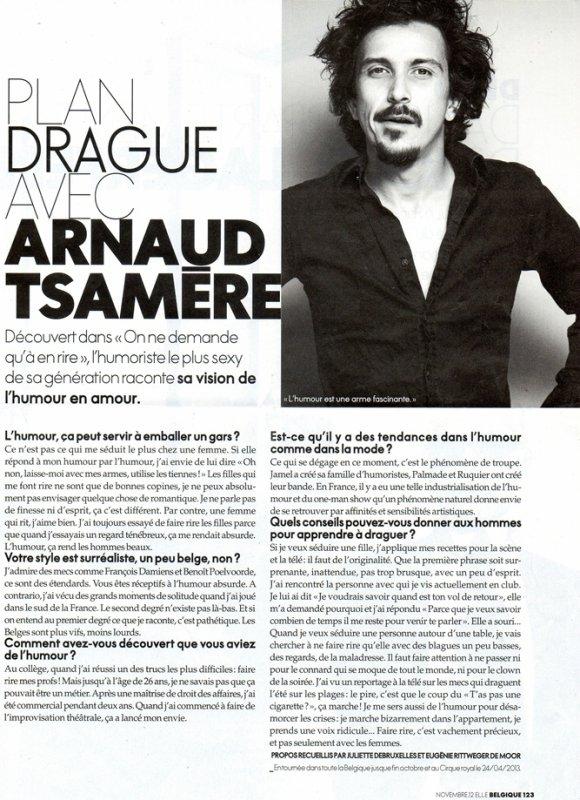 """Interview d'Arnaud Tsamere dans le magazine """"Elle"""""""