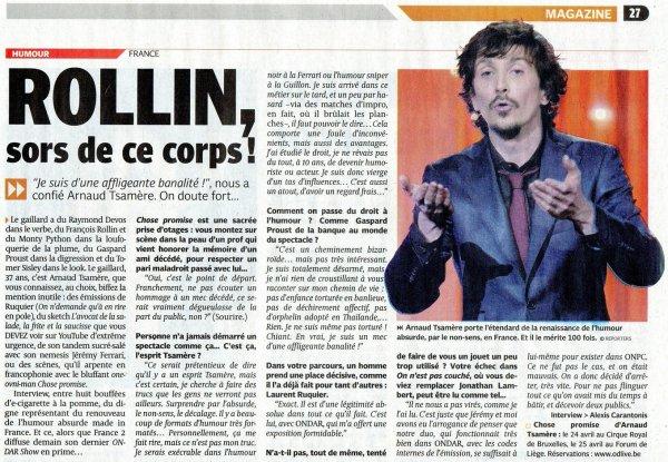 Interview d'Arnaud Tsamere dans la DH
