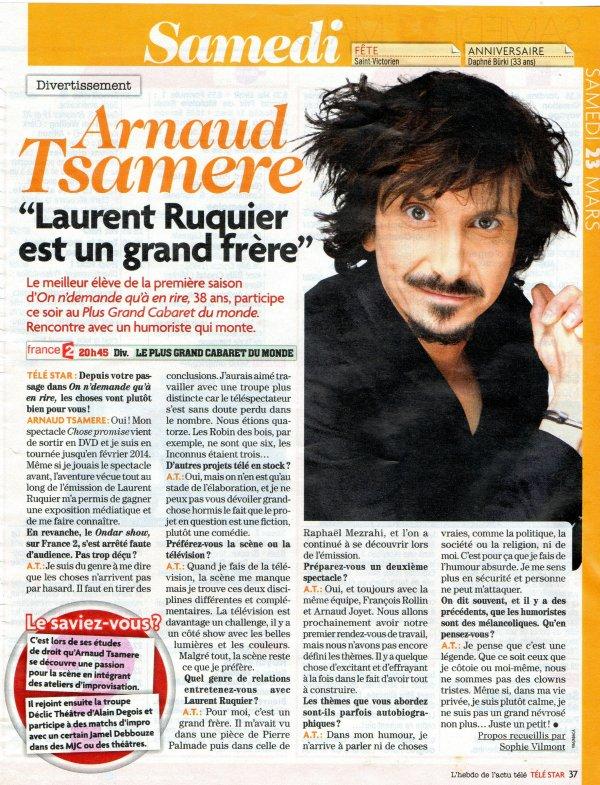 """Interview d'Arnaud Tsamere dans le magazine """"Télé Star"""""""