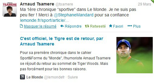"""Arnaud Tsamere s'improvise chroniqueur dans le journal """"Le Monde"""""""