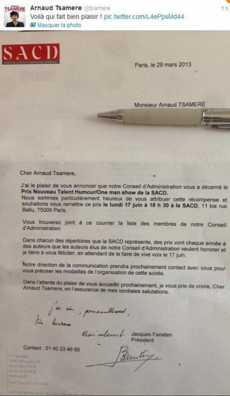 """Arnaud Tsamere a reçu le prix du """"Nouveau Talent Humour/One man show de la SACD""""!!"""