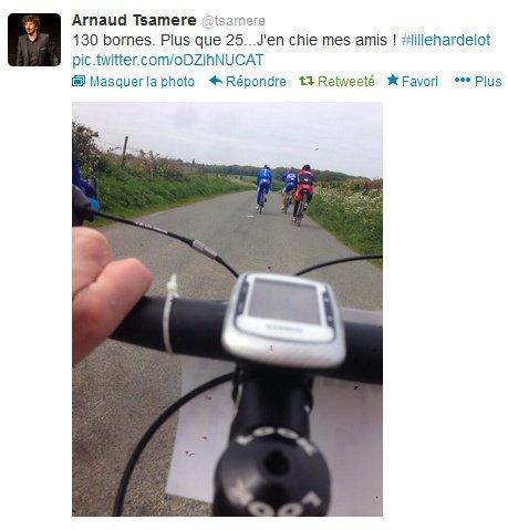 Arnaud Tsamere a participé à la randonnée en vélo de Lille jusque Hardelot!