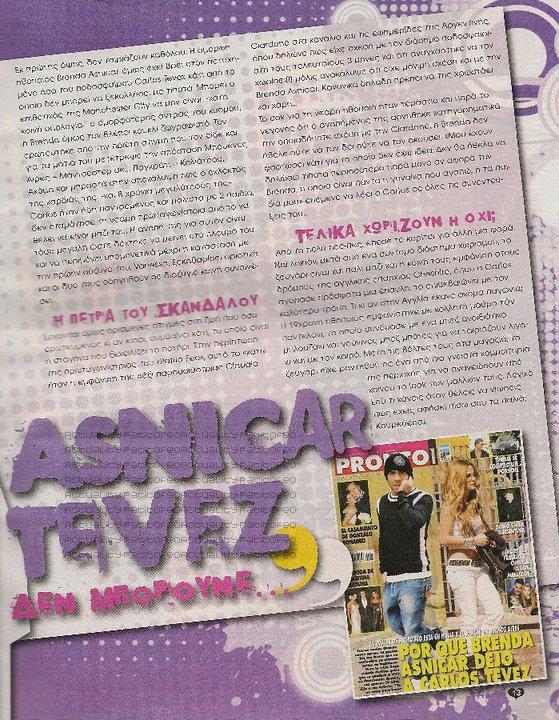 _ Brenda en couverture du magazine Grec  It's me + les scans où ils parlent de sa relation avec Tevez  _