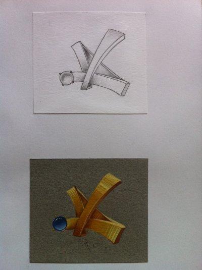 Gouaché boucles d'oreilles avec mise en valeur au crayon