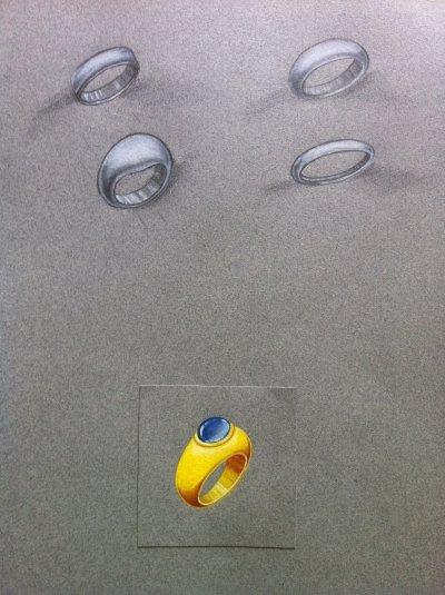 Gouaché bague boule avec mise en valeur au crayon et crayon blanc