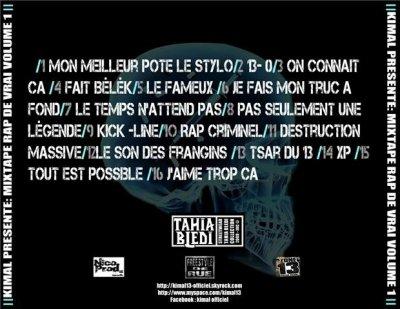 TRACK LISTE DE LA MIXTAPE '' RAP DE VRAI '' VOLUME 1
