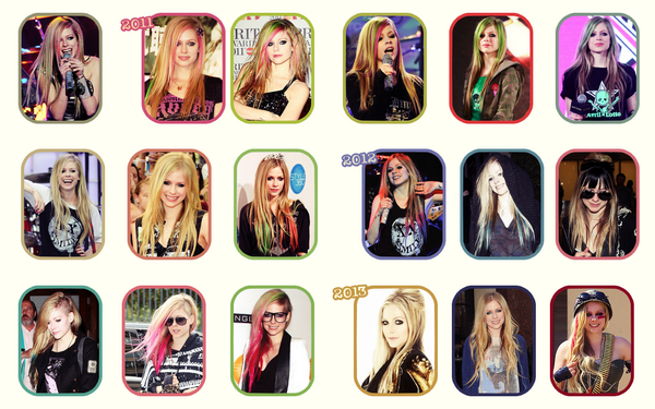 Les différentes coiffures, coupes, couleurs d'Avril au fil des années