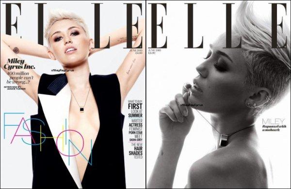 #001 _ . NEWS . _ 26.04.2013: _ Miley fait la première de couverture du magazine ELLE, qui sera en librairie le 1er Mai 2013.